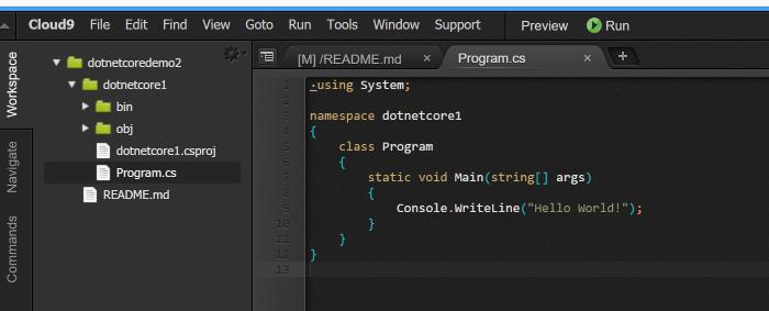 Building  NET Core apps on Cloud9 - To  NET